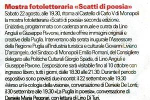 """""""La Gazzetta del Mezzogiorno"""", 22 agosto 2015"""